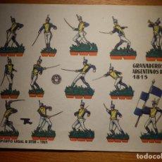 Coleccionismo Recortables: RECORTABLES - SOLDADITOS - GRANADEROS ARGENTINOS 1815 - B-3728-1961 - 24 X 18 CM - BRUGUERA. Lote 148120290