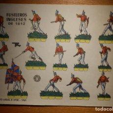 Coleccionismo Recortables: RECORTABLE - SOLDADITOS - FUSILEROS INGLESES 1812 - B-3728-1961 - 24 X 18 CM - BRUGUERA. Lote 148127266