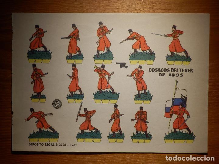 RECORTABLE - SOLDADITOS - COSAKOS DEL TEREK 1895 - B-3728-1961 - 24 X 18 CM - BRUGUERA (Coleccionismo - Recortables - Soldados)