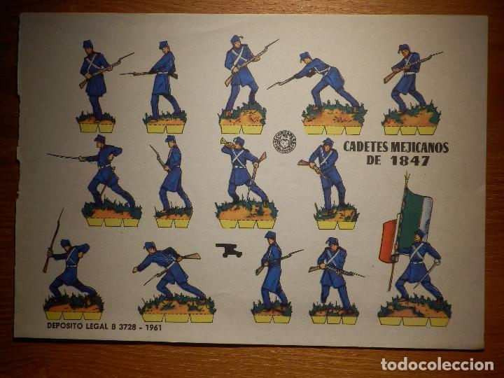 RECORTABLE - SOLDADITOS - CADETES MEXICANOS DE 1847 - B-3728-1961 - 24 X 18 CM - BRUGUERA (Coleccionismo - Recortables - Soldados)