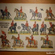 Coleccionismo Recortables: RECORTABLE - SOLDADITOS - HUSARES INGLESES DE 1868 - B-3728-1961 - 24 X 18 CM - BRUGUERA. Lote 148494038