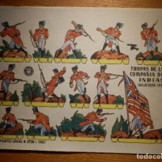 Coleccionismo Recortables: RECORTABLE - SOLDADITOS - TROPAS DE LA COMPAÑÍA DE INDIAS 1799 - B-3728-1961 - 24 X 18 CM - BRUGUERA. Lote 148494230