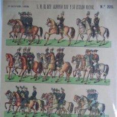 Coleccionismo Recortables: LIT HIJOS DE PALUZIE-BARCELONA S.M.EL REY ALFONSO XIII Y SU ESTADO MAYOR Nº 225 PERFECTO ESTADO. Lote 148773378