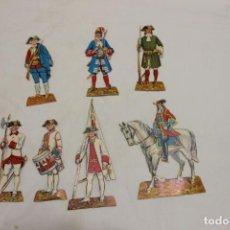 Coleccionismo Recortables: LOTE DE SIETE SOLDADOS DE CARTON RECORTABLE INFANTERIA DE LOS BORBONES 1700-1750. Lote 151002590