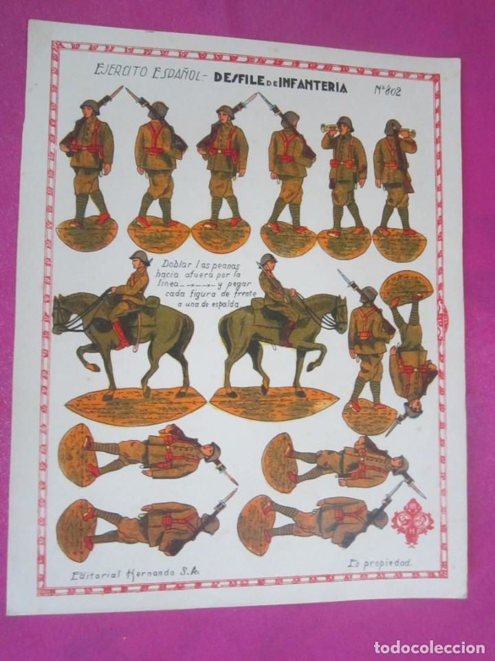 RECORTABLE EJERCITO ESPAÑOL DESFILE INFANTERIA 8O2 HERNANDO .1930 (Coleccionismo - Recortables - Soldados)