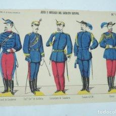 Coleccionismo Recortables: RECORTABLE LIT. DE PÀLUZIE, DIPUTACION 421, 1872, BARCELONA, JEFES Y OFICIALES DEL EJERCITO ESPAÑOL. Lote 171093577
