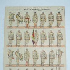 Coleccionismo Recortables: RECORTABLE ESTAMPERIA ECONOMICA DE PALUZIE, BARCELONA, EJERCITO ESPAÑOL, CAZADORES EN CAMPAÑA (VERAN. Lote 171164597