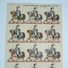 Coleccionismo Recortables: RECORTABLE ESTAMPERIA ECONOMICA DE PALUZIE, BARCELONA, GUARDIA MUNICIPAL DE BARCELONA, CABALLERIA, L. Lote 171166198