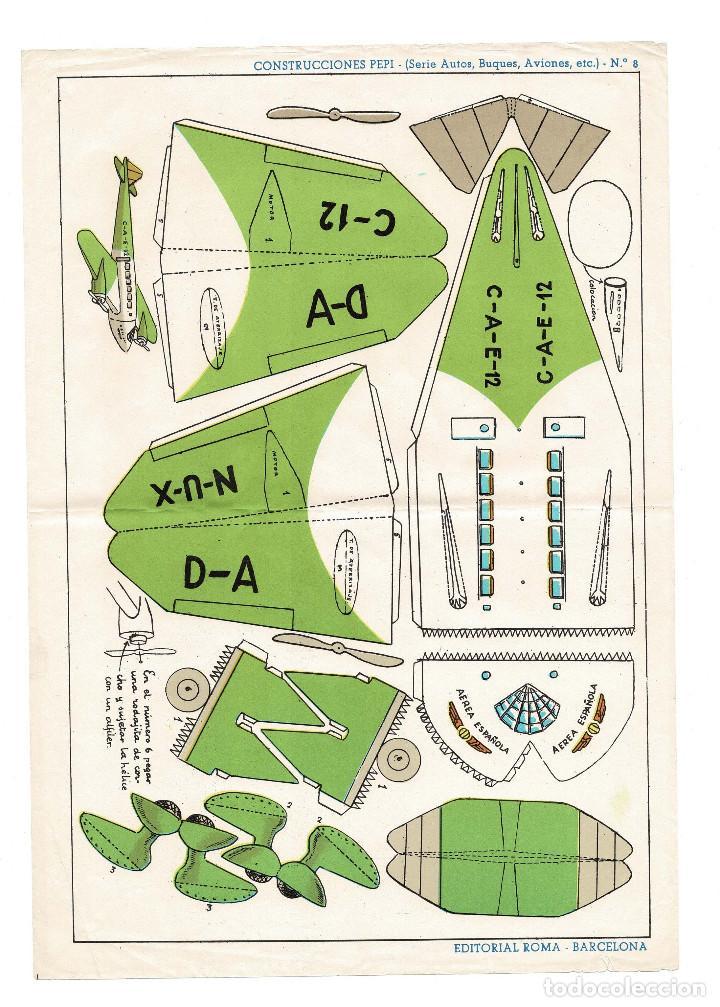 RECORTABLES CONSTRUCCIONES PEPI Nº 8 - SERIE BUQUES. AVIONES - EDITORIAL ROMA - MIDE 36 X 25CMS. (Coleccionismo - Recortables - Soldados)