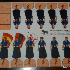 Collectionnisme Images à Découper: RECORTABLE FALANGE FEMENINA, SERIE A Nº 2, GUERRA CIVIL, MARCA EL TORO, EN CARTULINA, MIDE 31 X 22 C. Lote 173365453