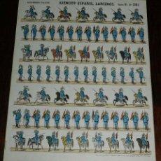 Coleccionismo Recortables: RECORTABLE ESTAMPERIA PALUZIE, EJERCITO ESPAÑOL, LANCEROS, SERIE D. N. 261, MIDE 35 X 27 CMS. APROX.. Lote 173559554