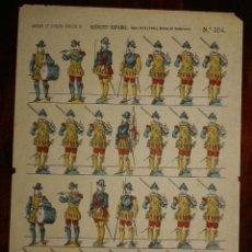 Coleccionismo Recortables: RECORTABLE PALUZIE, EJERCITO ESPAÑOL, INFANTERIA FELIPE II, SIGLO XVI (1860) Nº 304, LIT. DE PALUZIE. Lote 173565759