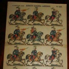 Coleccionismo Recortables: RECORTABLE LIT. DE HIJOS DE PALUZIE, EJERCITO ESPAÑOL. LANCEROS. N. 239, MIDE 41 X 28,5 CMS. APROXIM. Lote 173615794