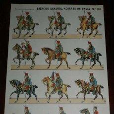 Coleccionismo Recortables: RECORTABLE ESTAMPERIA ECONOMICA PALUZIE, EJERCITO ESPAÑOL. HUSARES DE PAVIA. N. 237, MIDE 41 X 28,5 . Lote 173617520