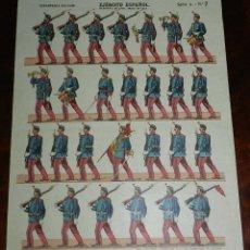 Coleccionismo Recortables: RECORTABLE ESTAMPERIA PALUZIE, EJERCITO ESPAÑOL. INFANTERIA LINEA, TRAJE DE GALA, SERIE A. N. 7, MID. Lote 173619082