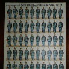 Coleccionismo Recortables: RECORTABLE ESTAMPERIA ECONOMICA PALUZIE, EJERCITO ESPAÑOL, ARTILLERIA DE PLAZA, N. 159, MIDE 40 X 28. Lote 173625054