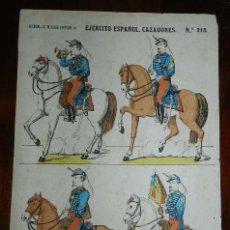 Coleccionismo Recortables: RECORTABLE LIT. DE HIJOS DE PALUZIE, EJERCITO ESPAÑOL, CAZADORES, Nº 218, MIDE 41 X 28,5 CMS. APROXI. Lote 173626697