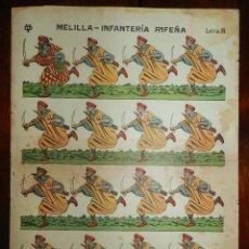 Coleccionismo Recortables: RECORTABLE DE MELILLA-INFANTERIA RIFEÑA, LETRA B. EDITADOS POR VD, AÑOS 1920. MIDE 40 X 30 CM. ESTAM. Lote 173627879
