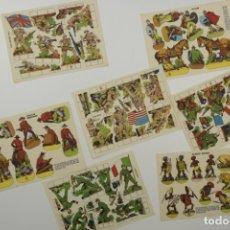 Coleccionismo Recortables: 7 LAMINAS RECORTABLES - TAMAÑO 24X34CM. EDITADOS POR ESTAMPAS DE ESPAÑA - AÑOS 60 - MILITAR Y TRIBU. Lote 175545937