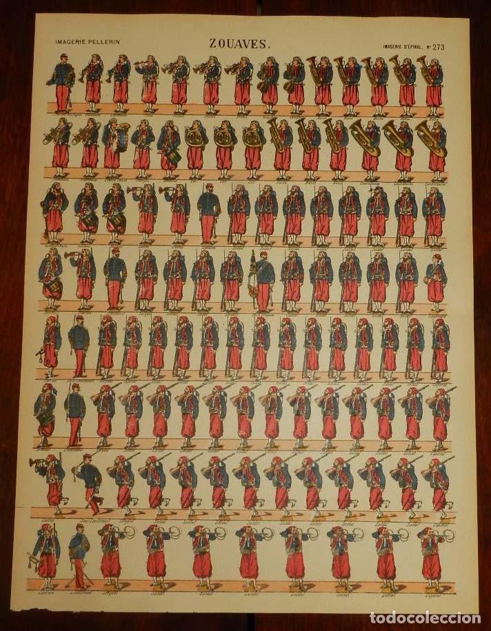 ANTIGUO RECORTABLE ZOUAVES, IMAGERIE PELLERIN, IMAGERIE D´EPINAL, N. 273. AÑOS 1910 APROX. MIDE 40,5 (Coleccionismo - Recortables - Soldados)