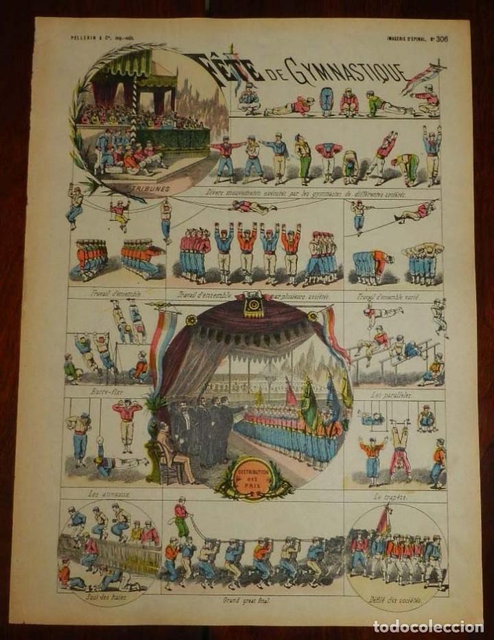 ANTIGUO RECORTABLE FETE DE GYMNASTIQUE, IMAGERIE PELLERIN, IMAGERIE D´EPINAL, N. 306. AÑOS 1910 APRO (Coleccionismo - Recortables - Soldados)
