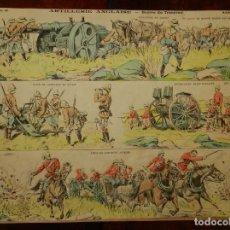 Coleccionismo Recortables: ANTIGUO RECORTABLE ARTILLERIE ANGLAISE, GUERRA DU TRANSVAAL Y POR EL REVERSO BATAILLE DE MAGENTA, PE. Lote 175915835