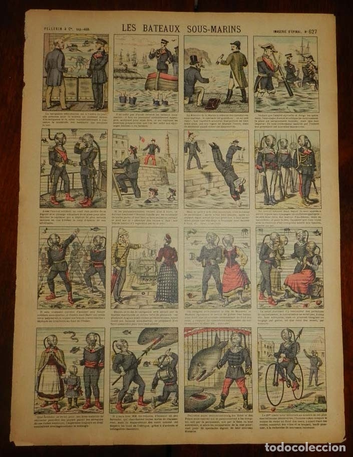 ANTIGUO RECORTABLE TIPO AUCA, LES BATEAUX SOUS-MARINS, PELLERIN & CIE, IMAGERIE D´EPINAL N. 627, AÑO (Coleccionismo - Recortables - Soldados)