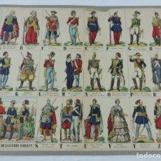 Coleccionismo Recortables: RECORTABLE LES CANTINIERES DE L´ARMEE FRANCAISE.ALPHABET DE LA GUERRA D´ORIENT, LITH. PELLERIN, ED. . Lote 176719274
