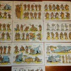 Coleccionismo Recortables: RECORTABLES LA TIJERA, SERIE MILITAR LILIPUT, AÑO 1959, SERIE COMPLETA CON LOS 16 RECORTABLES., MIDE. Lote 177230777