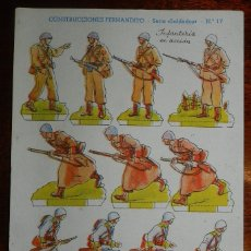 Coleccionismo Recortables: RECORTABLE DE CONSTRUCCIONES FERNANDITO, SERIE SOLDADOS N. 17, INFANTERIA EN ACCION, ED. ROMA, BARCE. Lote 177231214