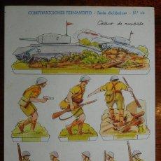 Coleccionismo Recortables: RECORTABLE DE CONSTRUCCIONES FERNANDITO, SERIE SOLDADOS N. 16, CARROS DE COMBATE, ED. ROMA, BARCELON. Lote 177231727