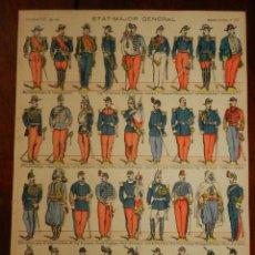 Coleccionismo Recortables: RECORTABLE PELLERIN, IMAGERIE D´EPINAL Nº 101, ETAT MAJOR GENERAL, MIDE 39 X 29 CMS.. Lote 177382075