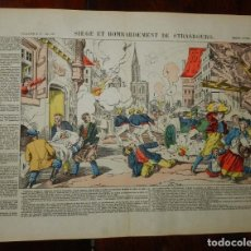 Coleccionismo Recortables: LAMINA PELLERIN EPINAL, SIEGE ET BOMBARDEMENT DE STRASBOURG Nº 137, MIDE 39 X 29 CMS.. Lote 177383178