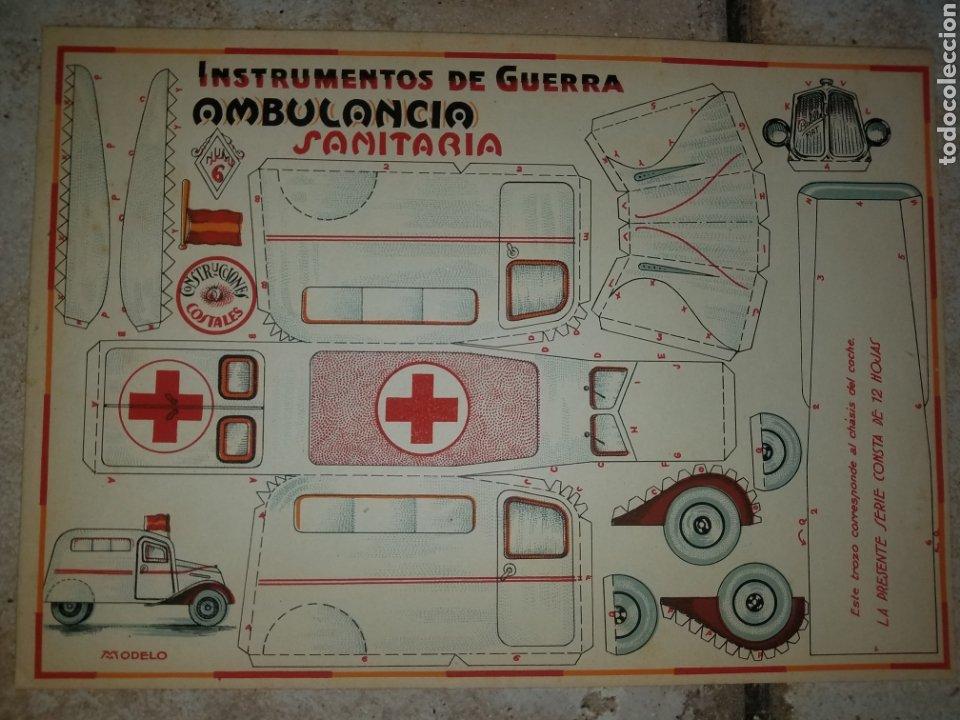 (M.C) RECORTABLES GUERRA CIVIL - C. COSTALES, J.GALVEZ, GRANADA -AMBULANCIA- INST- DE GUERRA AÑOS 40 (Coleccionismo - Recortables - Soldados)