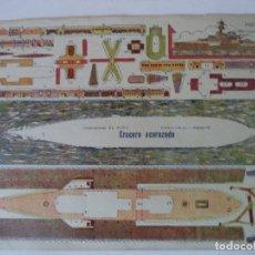 Coleccionismo Recortables: CONSTRUCCIONES EL NIÑO COLECCION 10 Nº 93 CRUCERO ACORAZADO 34X24 CM. Lote 180456260