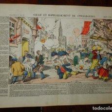 Coleccionismo Recortables: ANTIGUA LAMINA, SIEGE ET BOMBARDEMENT DE STRASBOURG Nº 137, PELLERIN, D´EPINAL, MIDE 39 X 29 CMS. . Lote 182371853