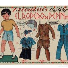 Coleccionismo Recortables: EL ROPERO DE PEPIN, Nº 4. UNIFORMES FLECHAS, ARTILLERO, MARINERO, MIDE,32 X 23 C.M.. Lote 182828768