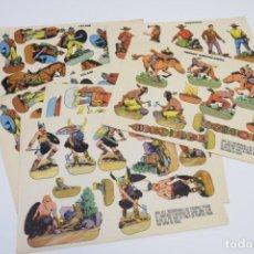 Coleccionismo Recortables: LOTE RECORTABLES TORAY - ISLAM, VIKINGOS, ESQUIMALES, INDIOS, VAQUEROS, ROMANOS - RECORTABLE FIGURAS. Lote 187440782