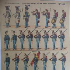 Coleccionismo Recortables: LIT HIJOS DE PALUZIE EJERCITO ESPAÑOL SIGLO XIX AÑO 1845 ISABEL II GRANADEROS 39X28 CM. Lote 191686661