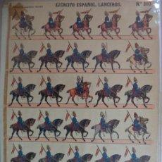 Coleccionismo Recortables: ESTAMPERIA ECONOMICA PALUZIE EJERCITO ESPAÑOL LANCEROS Nº 260 39X28 CM. Lote 191696307