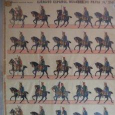 Coleccionismo Recortables: ESTAMPERIA ECONOMICA PALUZIE EJERCITO ESPAÑOL HUSARES DE PAVIA 258 39 X28 CM. Lote 191696581