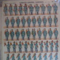 Coleccionismo Recortables: ESTAMPERIA ECONOMICA PALUZIE EJERCITO ESPAÑOL LANCEROS PIE A TIERRA Nº 251 39X28 CM. Lote 191699222