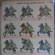 Coleccionismo Recortables: ESTAMPERIA ECONOMICA PALUZIE EJERCITO ESPAÑOL HUSARES DE LA PRINCESA GRAN GALA Nº 240 39X28 CM. Lote 191699482