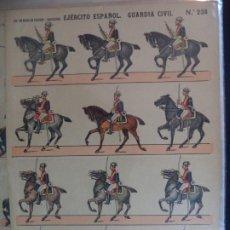 Coleccionismo Recortables: ESTAMPERIA ECONOMICA PALUZIE EJERCITO ESPAÑOL CAZADORE Nº 236 39X28 CM. Lote 191719811