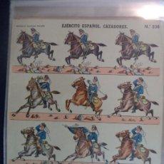 Coleccionismo Recortables: LIT HIJOS DE PALUCIE EJERCITO ESPAÑOL Nº 236 CAZADORES TAMAÑO 39X28. Lote 191720566