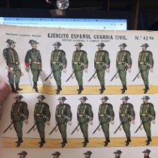 Coleccionismo Recortables: PLIEGO DE RECORTABLES PALUZIE EJÉRCITO ESPAÑOL GUARDIA CIVIL. Lote 193707935