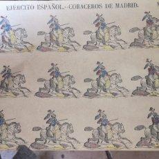 Coleccionismo Recortables: ANTIGUO PLIEGO DE RECORTABLES EJÉRCITO ESPAÑOL CORACEROS DE MADRID. Lote 193911148