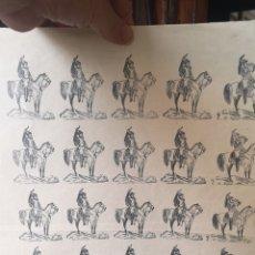 Coleccionismo Recortables: ANTIGUO PLIEGO DE SOLDADOS A CABALLO HÚSARES. Lote 193911596