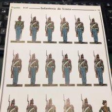 Coleccionismo Recortables: RECORTABLE LAMINA 10 INFANTERÍA DE LÍNEA ESPAÑA 1840. Lote 195076992