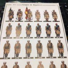 Coleccionismo Recortables: RECORTABLE LAMINA 12 GRUPOS DE REGULARES ESPAÑA 1921. Lote 195081342